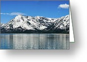 Alpine Panorama Greeting Cards - Jackson Lake Teton Panorama Greeting Card by Greg Norrell