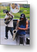 Musicians Glass Greeting Cards - Jackson Square Jazz Greeting Card by Bill Cannon