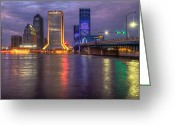 Bridge Greeting Cards Greeting Cards - Jacksonville at Dusk Greeting Card by Debra and Dave Vanderlaan