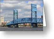 Florida Bridge Greeting Cards - Jacksonville Main Street Bridge Greeting Card by Rod Andress