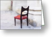 Red Photographs Mixed Media Greeting Cards - Jacobs Chair Greeting Card by Artecco Fine Art Photography - Photograph by Nadja Drieling