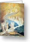 Old Testament Greeting Cards - Jacobs Ladder Greeting Card by William Blake