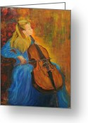 1987 Painting Greeting Cards - Jacqueline Du-Pre Greeting Card by Rachel Asherovitz