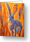 Hare Greeting Cards - Jacquelyn Greeting Card by Theresa Paden