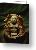 Burials Greeting Cards - Jade Artifact Found In A Dedicatory Greeting Card by Kenneth Garrett