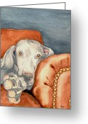 Weim Greeting Cards - Jade Greeting Card by Brazen Edwards-Hager