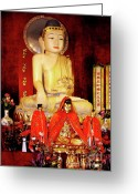 Asian Art Greeting Cards - Jade Buddha Jingan Temple Shanghai Greeting Card by Christine Till - CT-Graphics