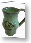 Thrown Ceramics Greeting Cards - Jade Crab Mug Greeting Card by Vernon Nix