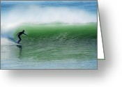 Surf Art La Jolla Digital Art Greeting Cards - Jade Green Wall Greeting Card by David Rearwin