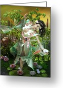 Character Greeting Cards - Jade Greeting Card by Karen Koski