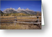 Wood Fences Greeting Cards - Jagged Mountains And Autumn Landscape Greeting Card by Ed George