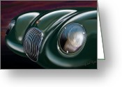 Sports Car Greeting Cards - Jaguar C Type Greeting Card by David Kyte