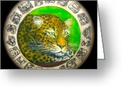Shaman Drum Greeting Cards - Jaguar Drum  Greeting Card by Ethan  Foxx