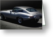 Jaguar E Type Greeting Cards - Jaguar E-Type by Moonlight Greeting Card by Curt Johnson