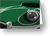Jaguar E Type Greeting Cards - Jaguar E-Type Greeting Card by Michael Tompsett