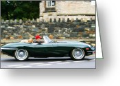 Club Greeting Cards - Jaguar E-Type Sports Car Greeting Card by Georgia Fowler