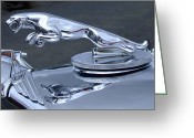 Ron Roberts Photography Greeting Cards Greeting Cards - Jaguar Hood Ornament Greeting Card by Ron Roberts