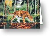 Wildlife Art Ceramics Greeting Cards - Jaguar on the Hunt Greeting Card by Dy Witt
