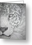 Photographs Drawings Greeting Cards - Jaguar Pointillism Greeting Card by Mayhem Mediums