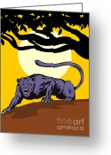 Feline Greeting Cards - Jaguar Prowling Greeting Card by Aloysius Patrimonio