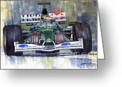 Motorsport Greeting Cards - Jaguar R3 Cosworth F1 2002 Eddie Irvine Greeting Card by Yuriy  Shevchuk