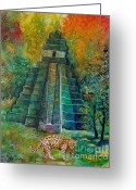 Big Cat Art Prints Greeting Cards - Jaguar Temple Greeting Card by Shelly Leitheiser