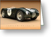 Hamilton Greeting Cards - Jaguar XK120-C Greeting Card by Pete Chadwell