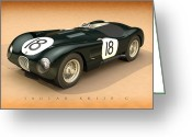 Hamilton Greeting Cards - Jaguar XK120-C Three-Quarters Greeting Card by Pete Chadwell