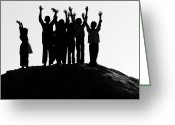 Silhouettes Greeting Cards - Jai Ho. Greeting Card by Mukesh Srivastava