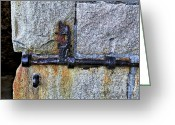 Old Lock Greeting Cards - Jail Bolt Greeting Card by Kaye Menner