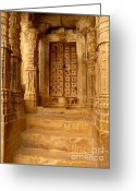 Door Sculpture Greeting Cards - Jaisalmer Palace Greeting Card by Sophie Vigneault