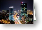 Busy City Greeting Cards - Jakarta City Greeting Card by Neil Buchan-Grant