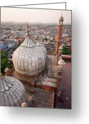 Minaret Greeting Cards - Jama Masjid Mosque Greeting Card by Tristan Savatier