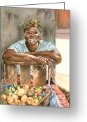 Tropical Island Pastels Greeting Cards - Jamaican Fruit Seller Greeting Card by John Clark