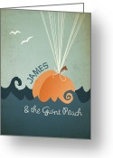 Game Room Greeting Cards - James and the Giant Peach Greeting Card by Megan Romo