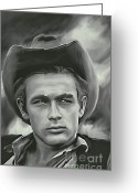 Men Pyrography Greeting Cards - James Dean   Greeting Card by Andrzej  Szczerski