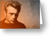 Handsome Greeting Cards - James Dean Greeting Card by Debbie McIntyre