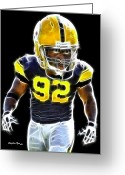 Pittsburgh Steelers Greeting Cards - James Harrison Greeting Card by Stephen Younts