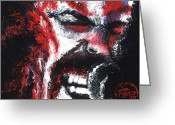 Metallica Painting Greeting Cards - James Hetfield Greeting Card by Brian Carlton