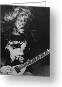 Hyper-realism Greeting Cards - James Hetfield Pencil 1987 Greeting Card by Brian Carlton