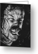 Charcoal Greeting Cards - James Hetfield Greeting Card by Steve Hunter