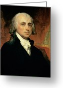 Male Portraits Greeting Cards - James Madison Greeting Card by American School