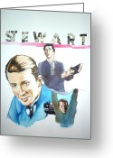 Vertigo Mixed Media Greeting Cards - James Stewart Greeting Card by Bryan Bustard