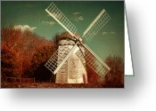 East Coast Digital Art Greeting Cards - Jamestown Windmill Greeting Card by Lourry Legarde