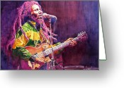 Music Legends Greeting Cards - Jammin - Bob Marley Greeting Card by David Lloyd Glover
