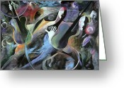 Jamming Painting Greeting Cards - Jammin Greeting Card by Ikahl Beckford