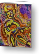 Jamming Painting Greeting Cards - Jamming  Greeting Card by Isaac Rudansky