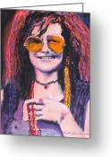 Joplin Greeting Cards - Janis Joplin 2 Greeting Card by Eric Dee