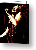 Entertainer Greeting Cards - Janis Joplin Greeting Card by Dean Caminiti