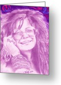 Joplin Greeting Cards - Janis Joplin Greeting Card by Kathleen Kelly Thompson